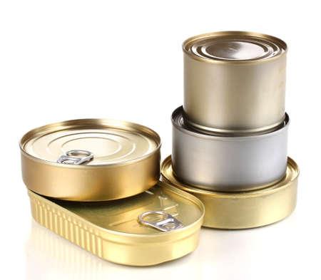 comida rica: Las latas aislado en blanco