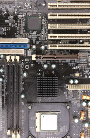 Modern electronic board. Motherboard close-up photo