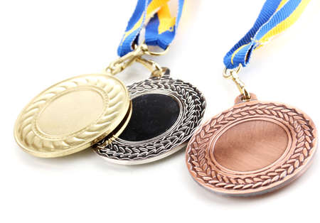 Three medals isolated on white Stock Photo - 13870701