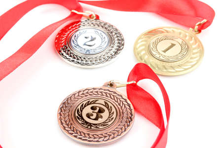awards ceremony: Three medals isolated on white Stock Photo