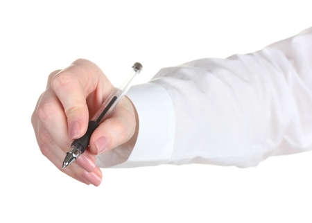 Woman hand with pen isolated on white Stock Photo - 13855715