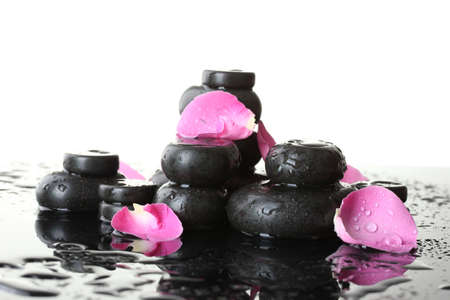 Spa stones with drops and rose petals on white background Stock Photo - 13870502