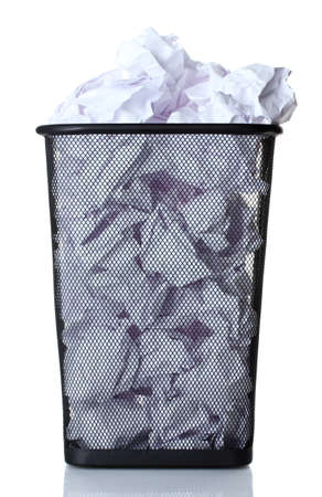 metal trash bin from paper isolated on white photo