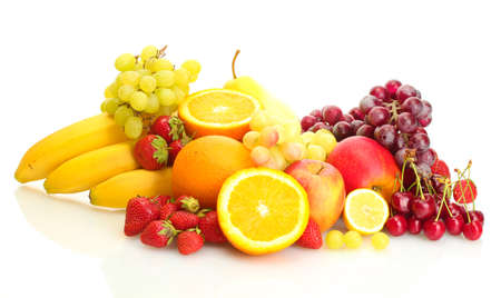 exotic fruits and berries isolated on white Stock Photo - 13874497
