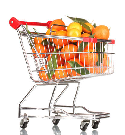 Ripe tasty tangerines in shopping cart isolated on white Stock Photo - 13874469