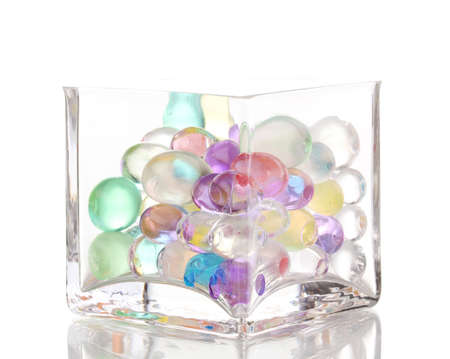 seed beads: Color hydrogel in vase isolated on white