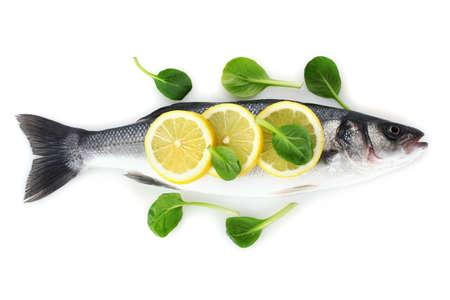 Fresh fish with lemon and parsley isolated on white Stock Photo - 13874482