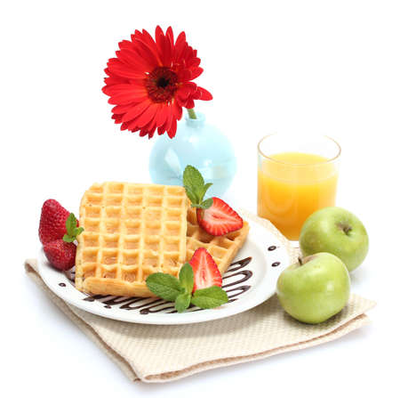 light breakfast isolated on white photo