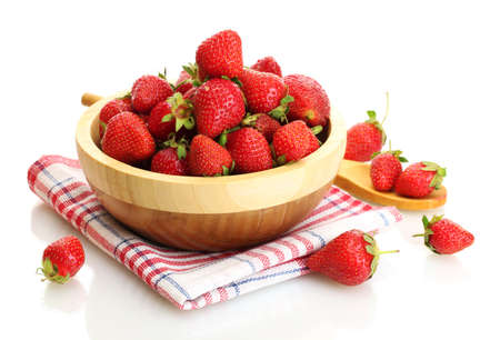 sweet ripe strawberries in wooden bowl isolated on white Stock Photo - 13904759
