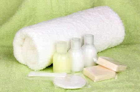 and amenities: Hotel amenities kit on towel