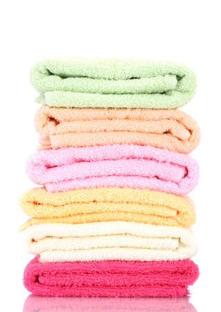 yellow fleece: colorful towels isolated on white