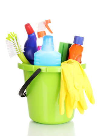 Cleaning items in bucket isolated on white photo