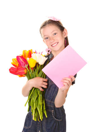 resent: Portrait of beautiful little girl with tulips and postcard isolated on white
