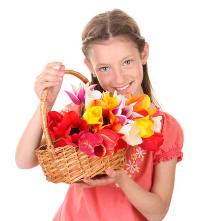 resent: Portrait of beautiful little girl with tulips in basket isolated on white Stock Photo