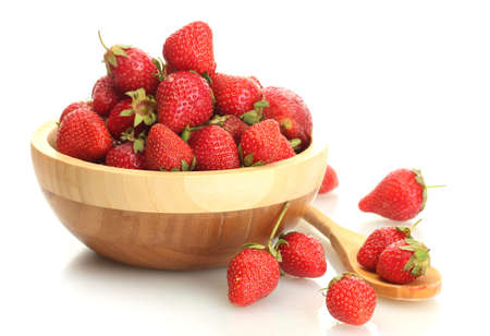 sweet ripe strawberries in wooden bowl isolated on white Stock Photo - 13949291