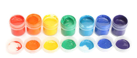 gouache: jars with multicolored gouache isolated on white background Stock Photo