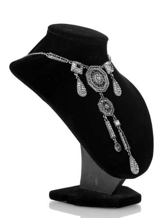 Silver necklace on black mannequin isolated on white Stock Photo - 14134862