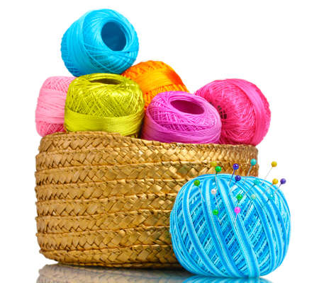 thread count: Bright threads for knitting in the basket isolated on white Editorial