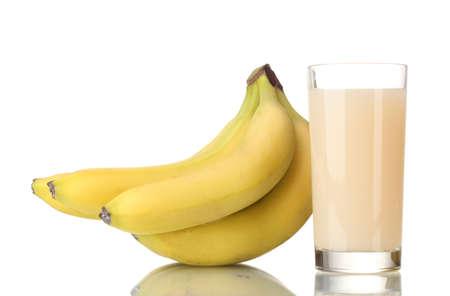 bannana: Bunch of bananas with banana juice isolated on white