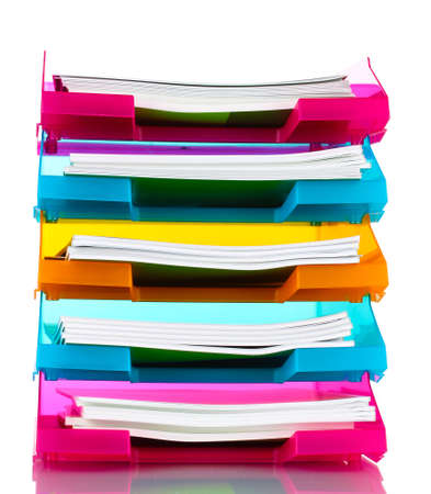 secretary tray: bright trays for papers isolated on white
