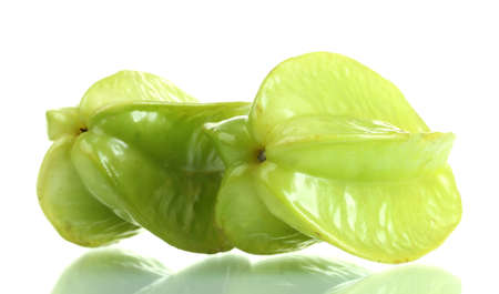 two fresh carambola fruits isolated on white Stock Photo - 14134793