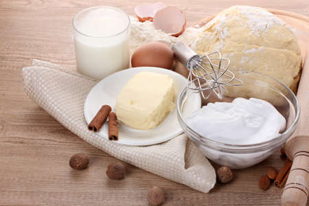 Ingredients for the dough wooden table Stock Photo - 14135155
