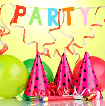 Party items on green background Stock Photo - 14134849