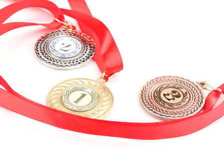 Three medals isolated on white Stock Photo - 14135008