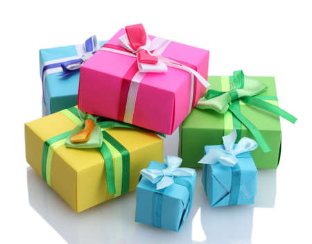 giving gift: bright gifts with bows isolated on white