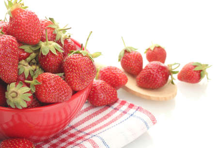 sweet ripe strawberries in bowl isolated on white Stock Photo - 13978588