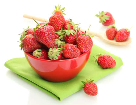 sweet ripe strawberries in bowl isolated on white Stock Photo - 13978552