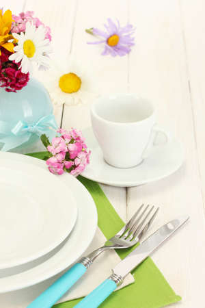 clean dishes: beautiful holiday table setting with flowers