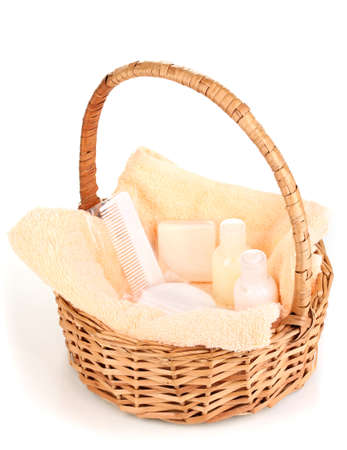 and amenities: Hotel amenities kit in basket isolated on white Stock Photo