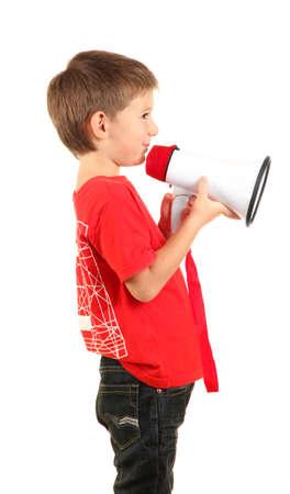 Retrato del niño pequeño con altavoz aislado en blanco Foto de archivo