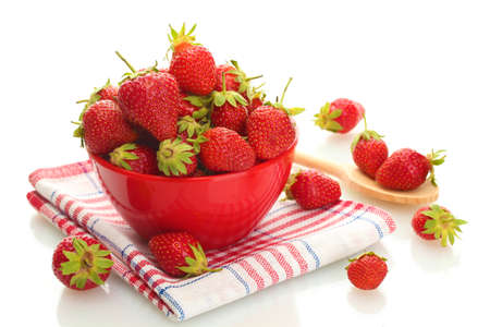 fruit bowl: sweet ripe strawberries in bowl isolated on white Stock Photo