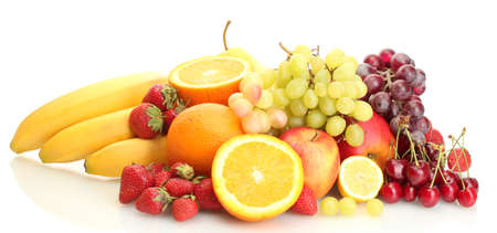 exotic fruits and berries isolated on white Stock Photo - 13993891