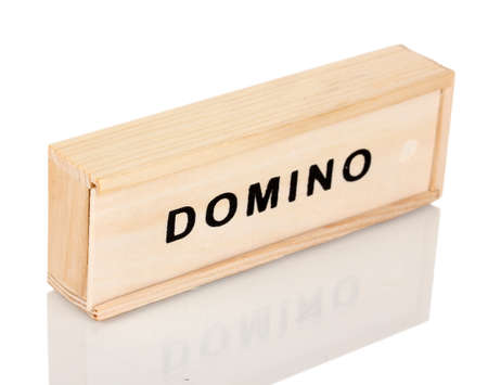Wooden box with domino isolated on white photo