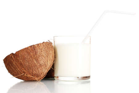 Coconut milk and coconut isolated on white Stock Photo - 13993329