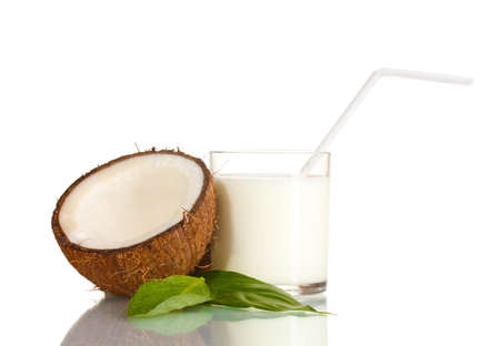 Coconut milk and coconut isolated on white photo