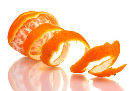 Ripe tasty tangerines with peel  isolated on white photo