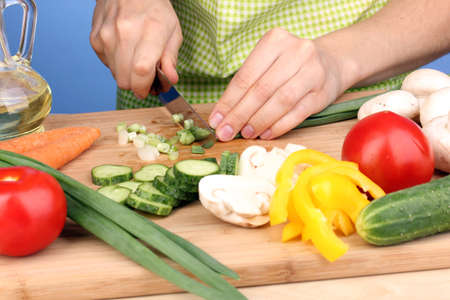 preparing food: Chopping food ingredients Stock Photo