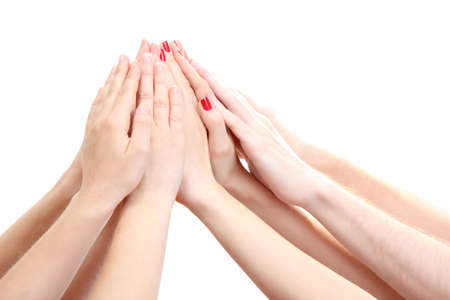 group of young people's hands isolated on white Stock Photo - 14031740