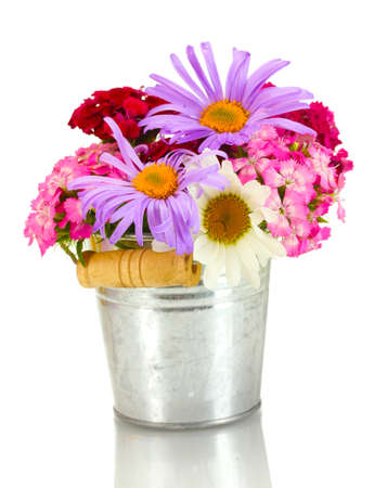 beautiful bouquet of bright wildflowers in bucket, isolated on white photo