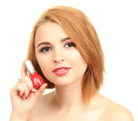 portrait of sexy young woman with red nail polish photo