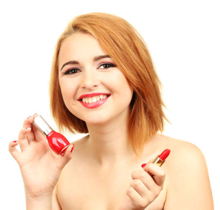 portrait of sexy young woman with red nail polish and lipstick photo