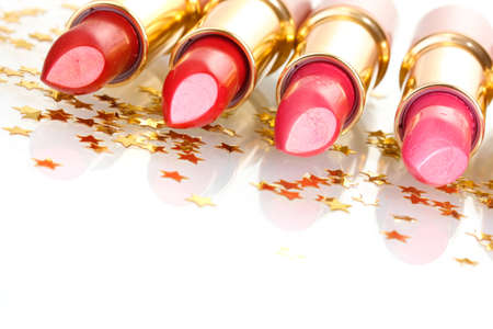 beautiful lipsticks isolated on white photo