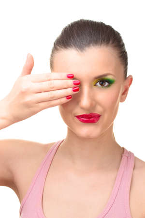 portrait of young woman with glamour make up and red manicure