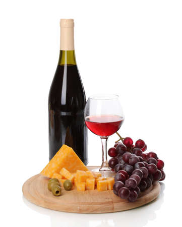 degustation: Bottle of great wine with wineglass and cheese isolated on white