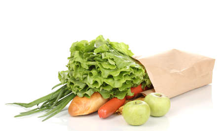 Paper bag with food isolated on white photo