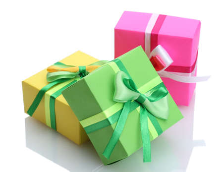 birthday gift: three gifts with bows isolated on white